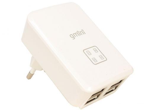 Зарядное устроиство USB от сети питания 220В Gmini GM-WC-0123-4USB, с 4 USB портами 5В2.1А x 2 и 5В1А x 2, белый