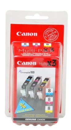 Чернильница Canon CLI-8C/M/Y для PIXMA MP800/MP500/iP6600D/iP5200/iP5200R/iP4200/IX5000. 3 штуки. Голубой, пурпурный, жёлтый. 700 страниц.