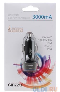 автомобильное зарядное устройство ginzzu ga-4415ub, азу 5в/3.0a, 2usb, черный
