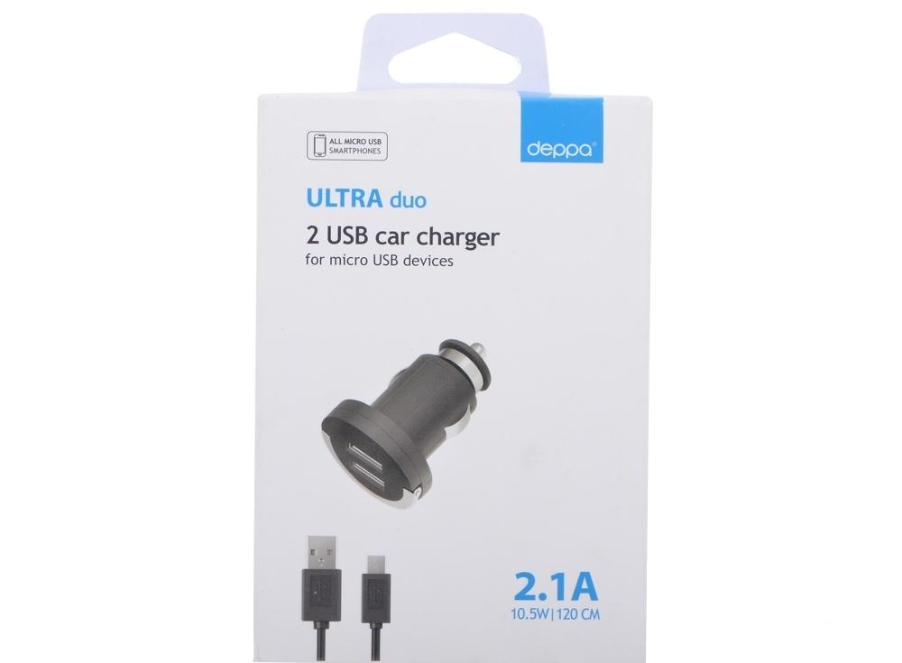 Автомобильное зарядное устройство Deppa  2 USB 2,1А, дата-кабель micro USB, черный (11206)