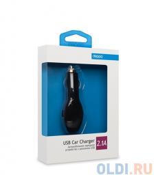 Автомобильное зарядное устройство Deppa USB, 2.1А, черная, (22123)