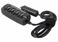 автомобильное зарядное устройство ginzzu ga-4430ub на 4 usb порта 3000ма с удлинителем - 80см