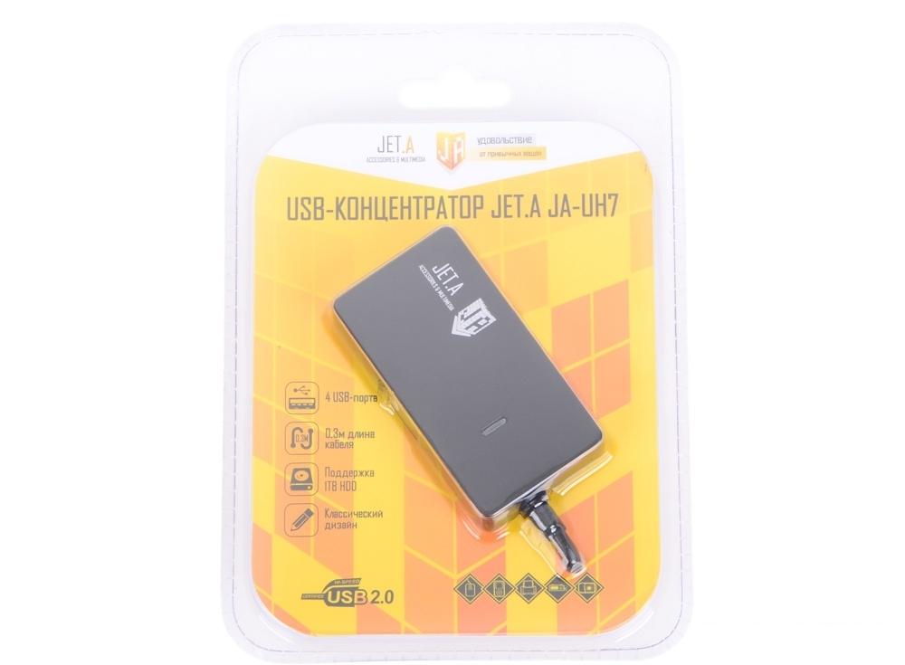 USB-концентратор Jet.A JA-UH7 на 4 порта USB 2.0, чёрный