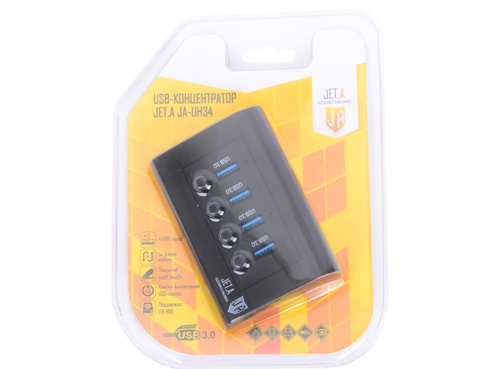USB-концентратор Jet.A JA-UH34 на 4 порта USB 3.0, с выключателями портов, чёрный