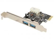 Контроллер PCI-E to USB3.0 Orient NC-3U2PE 2-х портовый хост-адаптер для шины PCI Express, доп.разъём питания, Nec, re