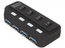 Концентратор USB 3.0 ORIENT BC-306PS, USB 3.0 HUB 4 Ports, c БП-зарядником 2xUSB (5В, 2.1А), выключатели на каждый порт, черный