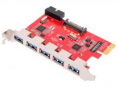 Контроллер ORIENT VA-3U5219PE, PCI-E USB 3.0 5ext/2int (19-pin) port, VIA VL805+VL813 chipset, разъем доп.питания, oem