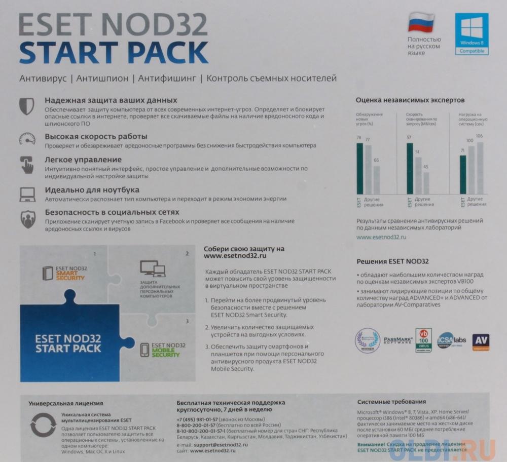 Антивирус ESET NOD32 START PACK- базовый комплект безопасности компьютера,  лицензия на 1 год на 1ПК  NOD32-ASP-NS(BOX)-1-1