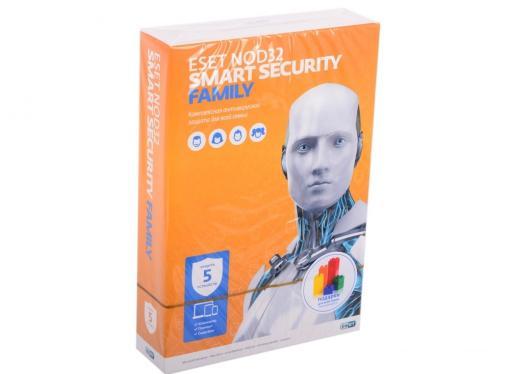 Антивирус ESET NOD32 Smart Security FAMILY - лицензия на 1 год на 5 устройств