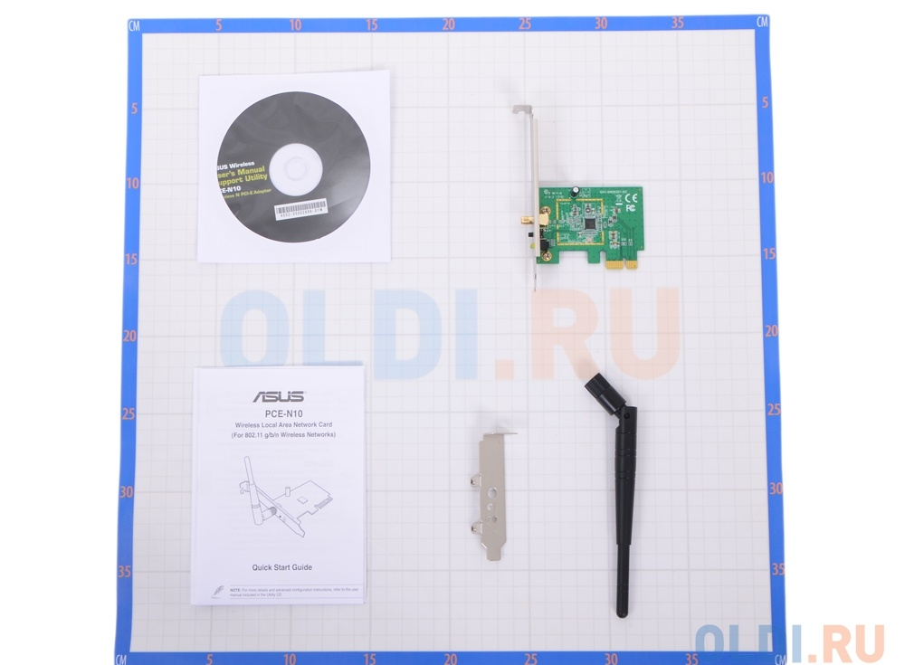 Беспроводной Wi-Fi адаптер ASUS PCE-N10 802.11bgn, 150Mbps, 2.4GHz, PCI-E