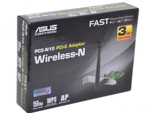 Беспроводная сетевая карта ASUS PCE-N10 Беспроводной адаптер Wi-Fi с интерфейсом PCI Express
