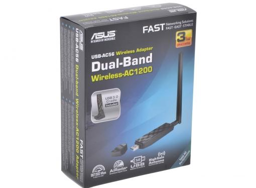 Беспроводной Wi-Fi адаптер WiFi 802.11ac ASUS USB-AC56 802.11acbgn, 300/867Mbps, 2.4/5GHz, USB