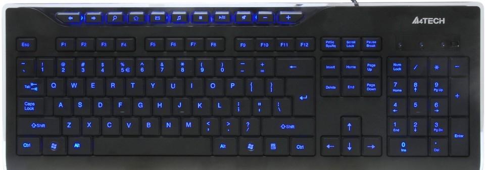 Клавиатура A4Tech KD-800L USB B(Черный) Кн:115+11 Подсветка