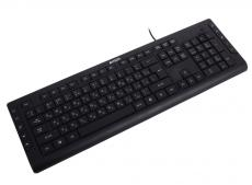 Клавиатура A4Tech KD-600L, черн, синяя подсветка символов, слим, 10 доп. клавиш, USB