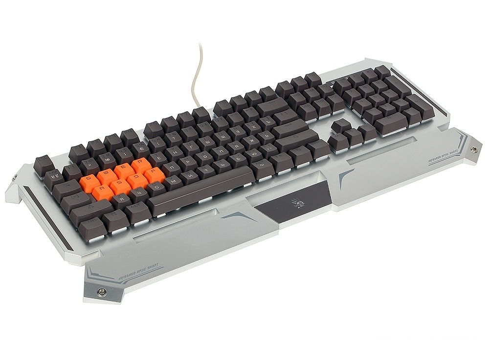 Клавиатура A4Tech B740A серебристый/черный USB Gamer LED