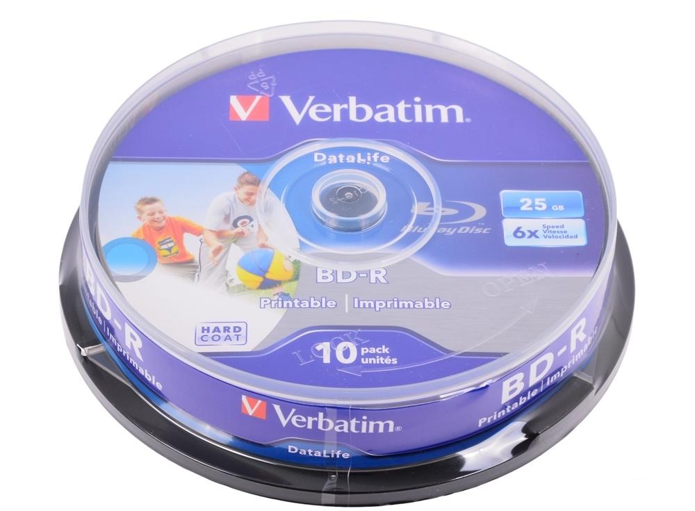BD-R Verbatim 25GB 6x 10шт CakeBox Full Ink Print