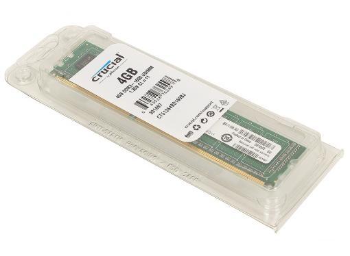 Память DDR3 4Gb (pc-12800) 1600MHz Crucial, Single Rank (Retail) 1,35V (CT51264BD160BJ)