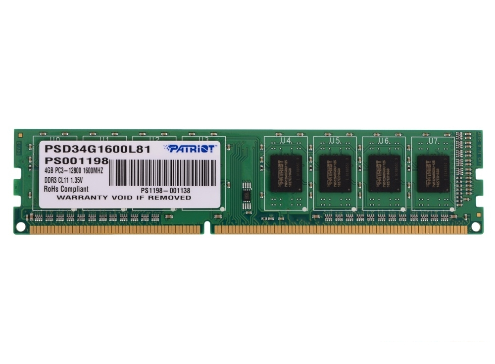 Память DDR3 4Gb (pc-12800) 1600MHz Patriot 1.35V PSD34G1600L81