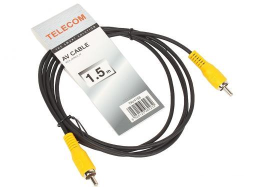 Кабель соединительный RCA (M) - RCA (M) черный 1,5m, Telecom (TAV4158-1.5M)