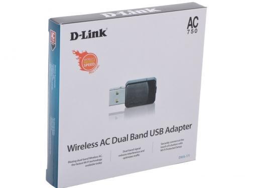 Беспроводной Wi-Fi адаптер D-Link DWA-171/RU/A1A 802.11bgn, 150/433Mbps, 2.4/5GHz, USB