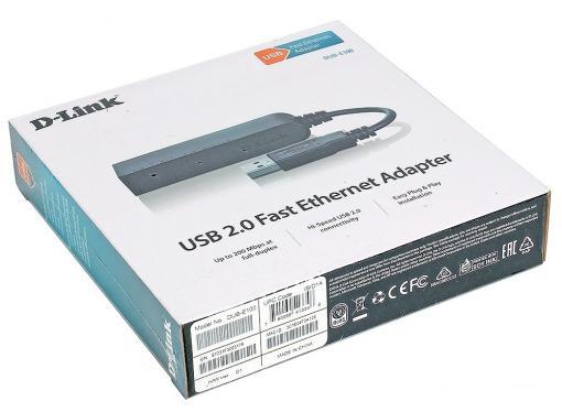 Адаптер D-Link DUB-E100/B/D1A Сетевой адаптер с 1 портом 10/100Base-TX для шины USB 2.0