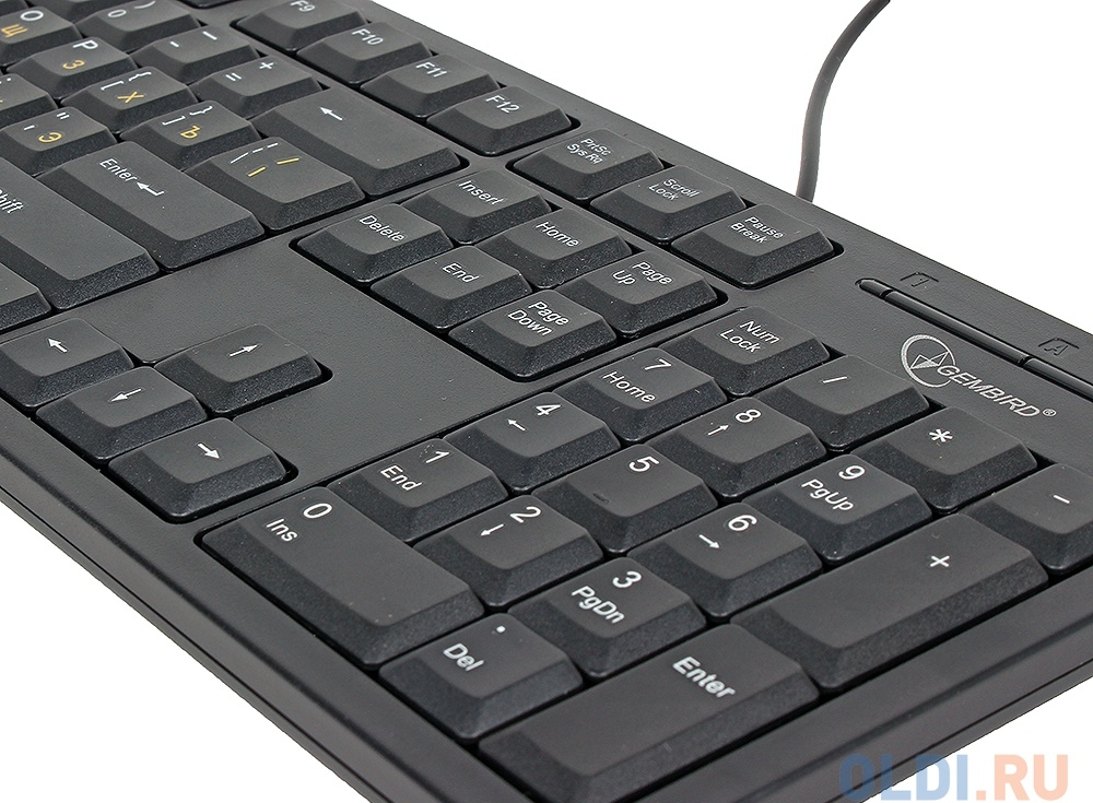 Клавиатура Gembird KB-8340U-BL, черный, USB, ножничный механизм клавиш, 104 клавиши