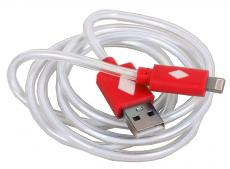 Кабель 3Cott 3C-CLDC-065BR-IP5, Apple Lightning MFI с подсветкой холодного оттенка, 1 м, красный