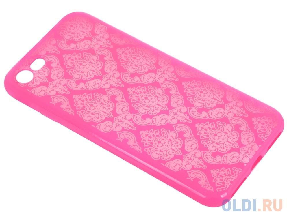 Силиконовый чехол для iPhone 7 TPU Цветочный узор (красный/прозрачный) 0L-00029605
