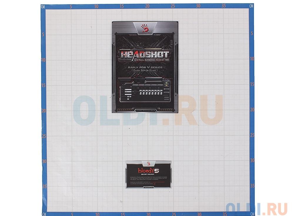 Мышь A4-Tech V7m игровая провод,метал ножк,черн, с подсветкой, размер L, Holeless, 400-3000dpi 5 mod, 8 кн, 160kb memory, 30G/sec, 125-1000hz USB, key