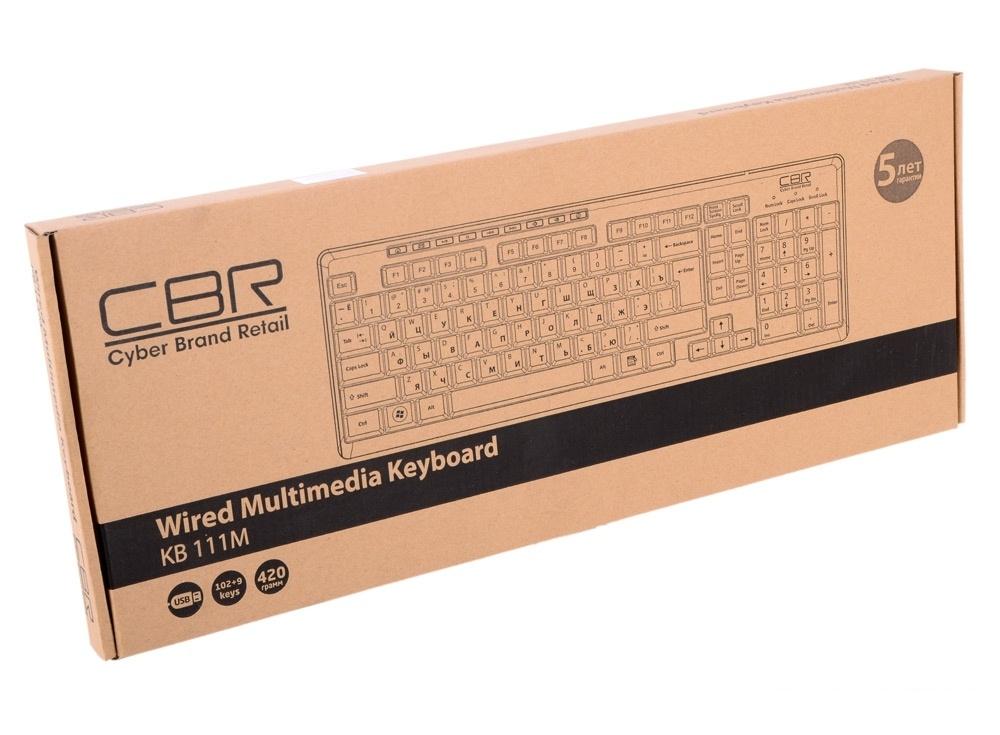 клавиатура cbr kb 111m, 102 кнопки+мультимедия 9 кнопок, поверхность под карбон,  usb