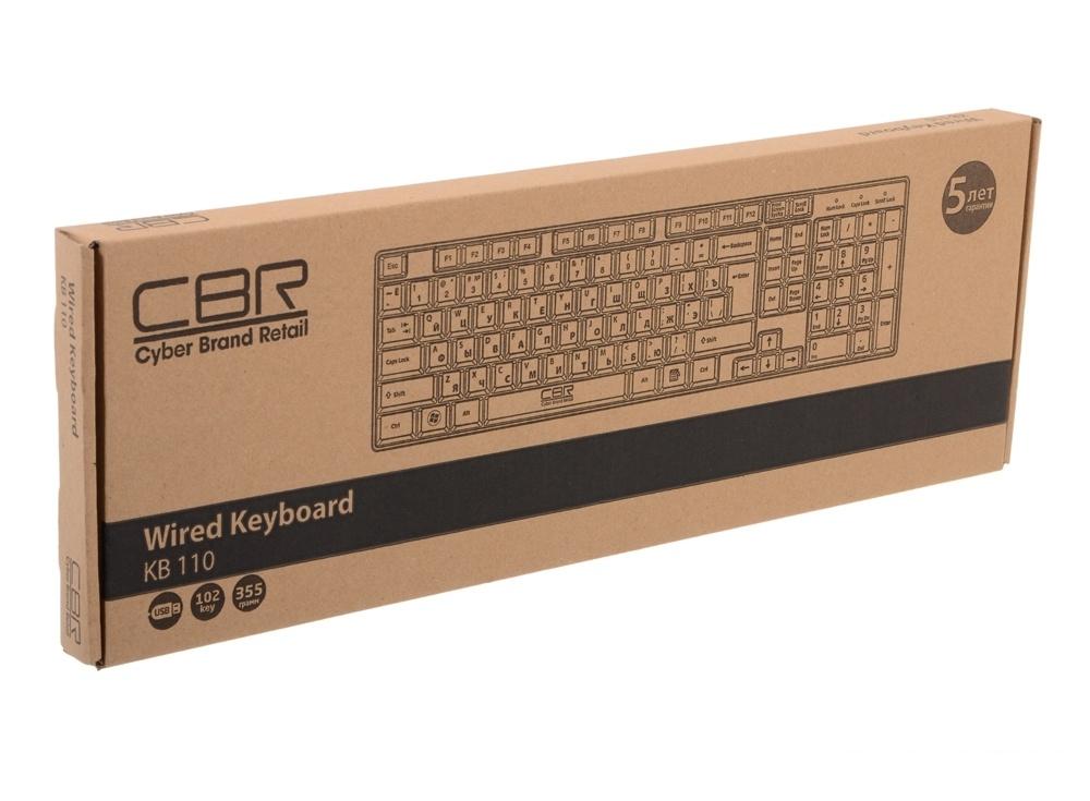 Клавиатура CBR KB 110,офисн.,поверхность под карбон , переключение языка 1 кнопкой (софт), USB