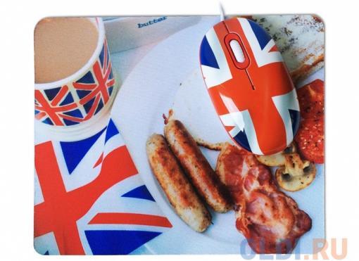 мышь сувенирная+ коврик cbr breakfast,  1200 dpi, рисунок, usb