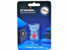 Внешний накопитель 16GB USB Drive (USB 2.0) ICONIK Мишка Серый ТЕДДИ (RB-BEARG-16GB)