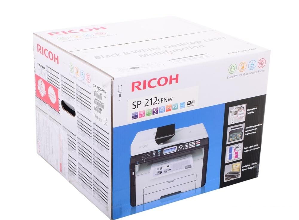 мфу ricoh sp 212sfnw (копир-принтер-сканер, adf, 22стр./мин., 1200x600dpi, lan, wifi, a4) замена sp 203sfnw