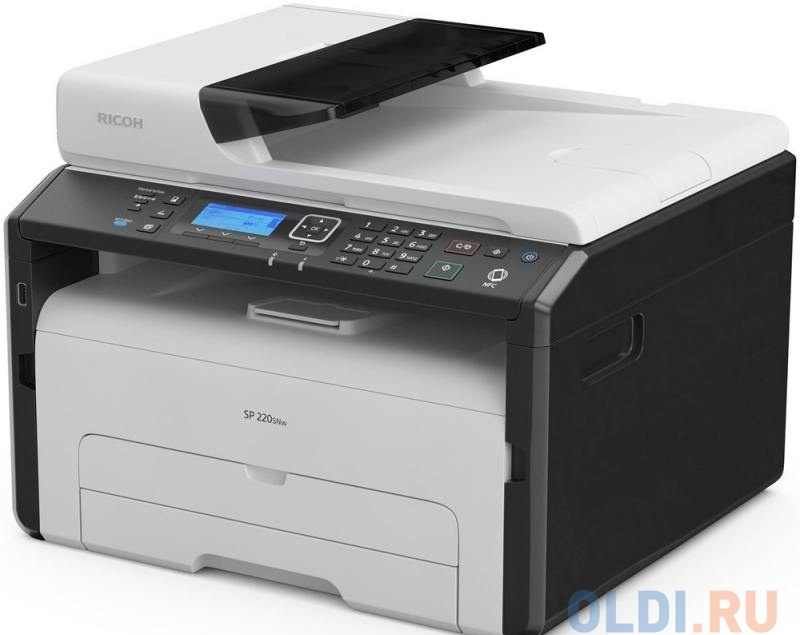 МФУ Ricoh SP 220SNw A4, 23 стр/мин, 151 листов + 35 листов, USB, Ethernet, Wi-Fi, 128MB