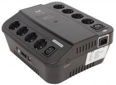 ИБП 3Cott 3C-850-SPB, 850 ВА / 480 Вт, линейно-интерактивный, управляемый, 3-х ступенчатый AVR, выходы: 8 евро-розетки + 2 IEC