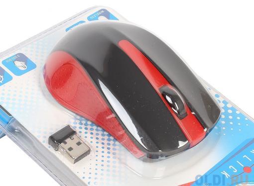 Мышь Oklick 485MW+ черный/красный оптическая (1200dpi) беспроводная USB (2but)